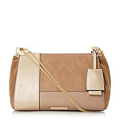 Dune - Taupe 'Datch' patchwork shoulder bag