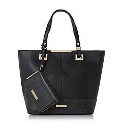 Dune - Black 'Denisha' contrast base panel shopper bag