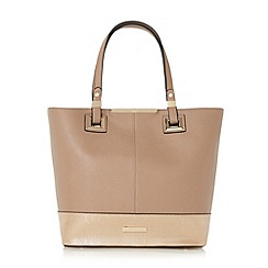 Dune - Taupe 'Denisha' contrast base panel shopper bag online exclusive