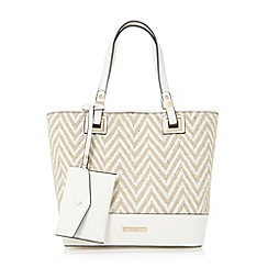 Dune - White 'Denisha' contrast base panel shopper bag limited edition