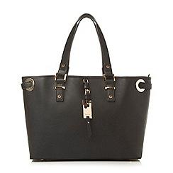 Dune - Black oversized eyelet shopper bag