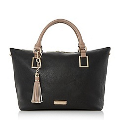 Dune - Black 'Deloris' double top handle tote bag