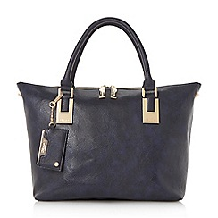 Dune - Navy 'Delorna' colour block double top handle tote bag