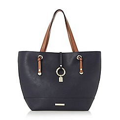 Dune - Navy 'Dollies' colour block shopper bag