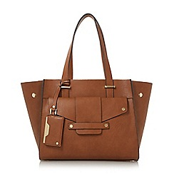 Dune - Tan 'Dornan' winged shopper bag with removable pouch