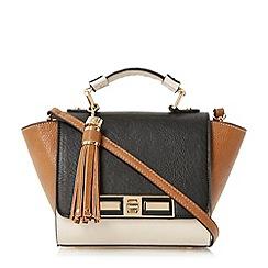 Dune - Black small foldover winged handbag