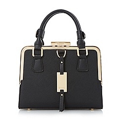 Dune - Black small structured metal frame top handbag