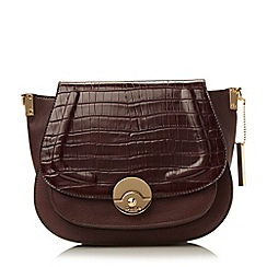 Dune - Dark red 'Delphine' contrast foldover panel saddle bag