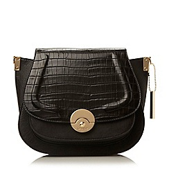 Dune - Black 'Delphine' contrast foldover panel saddle bag