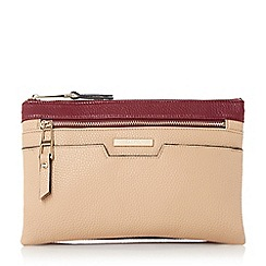 Dune - Brown colour block multi compartment cross body bag