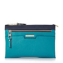 Dune - Blue colour block multi compartment cross body bag