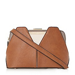 Dune - Tan 'Dawwn' structured colour block shoulder bag