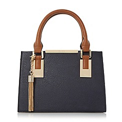 Dune - Navy 'Dinideedee' mini structured top handle handbag