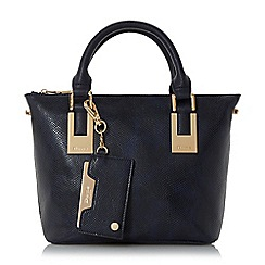 Dune - Navy 'Dinidelorna' mini colour block double top handle tote bag