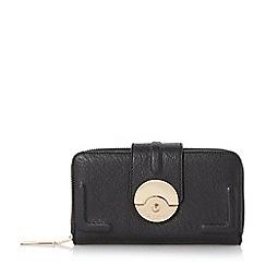 Dune - Black-synthetic 'Kayjay' push lock zip around purse