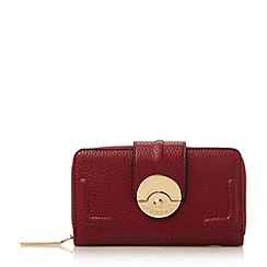 Dune - Dark red 'Kayjay' push lock zip around purse