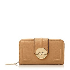 Dune - Camel 'Kayjay' push lock zip around purse