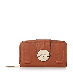 Dune - Tan 'Kayjay' push lock zip around purse
