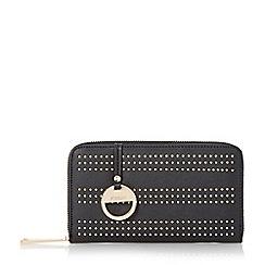 Dune - Black-synthetic 'Kstud' studded zip around purse
