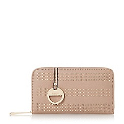 Dune - Taupe-synthetic 'Kstud' studded zip around purse