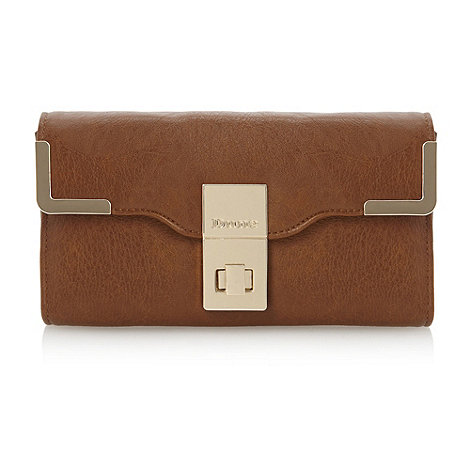 Dune - Brown turn lock metal corners purse