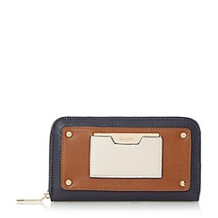 Dune - Navy 'Kannah' metal hardware zip around purse