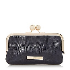 Dune - Navy 'Kartha' pocket detail kiss clasp purse