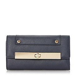 Dune - Navy 'Kalls' metal bar detail turn lock purse