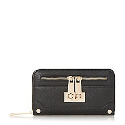 Dune - Black 'Katee' turn lock zip detail purse