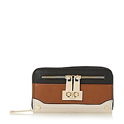 Dune - Tan 'Katee' turn lock zip detail purse