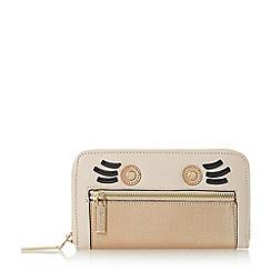 Dune - Taupe 'Kinga' face detail zip around purse