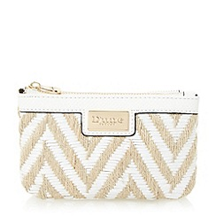 Dune - White 'Kath' raffia double pouch purse