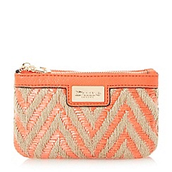 Dune - Orange 'Kath' raffia double pouch purse