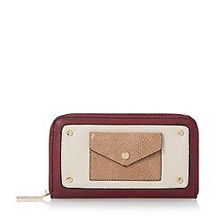 Dune - Dark red 'Klair' envelope pocket zip around purse