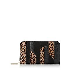 Dune - Black 'Kay' patchwork zip around purse