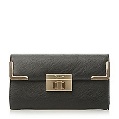 Dune - Black turn lock and metal corner detail purse