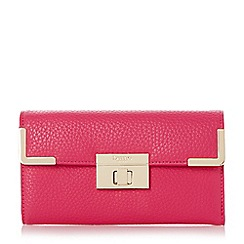 Dune - Pink turn lock and metal corner detail purse