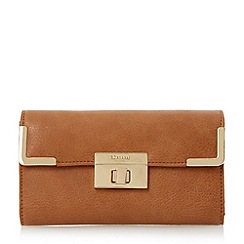 Dune - Brown turn lock and metal corner detail purse