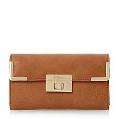 Dune - Brown turn lock and metal corner detail purse