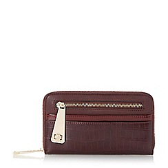Dune - Dark red 'Karen' multi compartment zip front purse