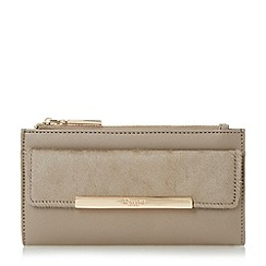 Dune - Grey 'Klimline' slim two zipper top purse