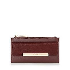 Dune - Dark red 'Klimline' slim two zipper top purse