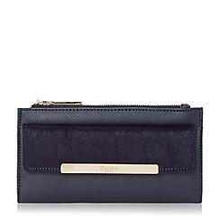 Dune - Navy 'Klimline' slim two zipper top purse