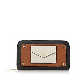 Dune - Tan 'Klair' envelope pocket zip around purse