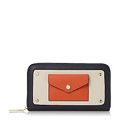 Dune - Navy 'Klair' envelope pocket zip around purse