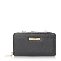 Dune - Black 'Kalexa' double compartment zip around purse