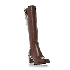 Dune - Brown 'Todd' cleated sole knee high boot