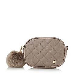 Dune - Grey 'Sophia-mini' quilted pom pom micro bag