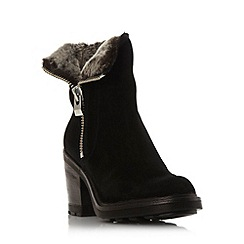 Dune - Black 'Riva' warm lined mid heel ankle boot