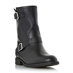 Dune - Black 'Ralphey' double buckle leather calf boot